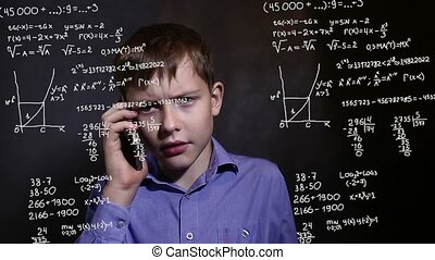 Student boy teen talking phone science formula math problem...