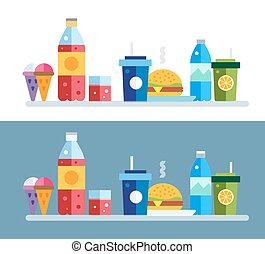 Fast food objects set Fast food restaurant Water bottle,...