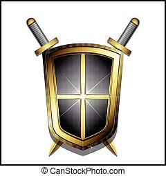 Golden shield and two crossed swords on white background...