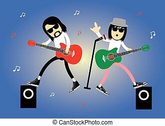 singer rock star cartoon