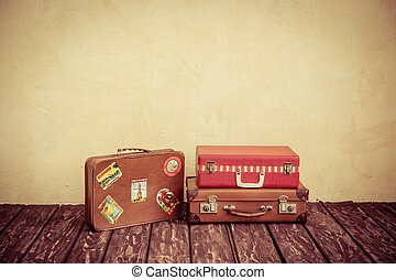 Travel - Vintage classic brown leather suitcase. Travel...