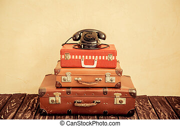 Travel - Vintage classic brown leather suitcase and retro...