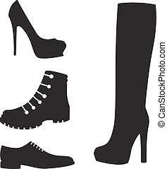 vector set of black shoes silhouettes - vector set,...