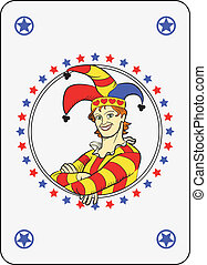 Circle joker - Playing card: joker in a circle stars frame