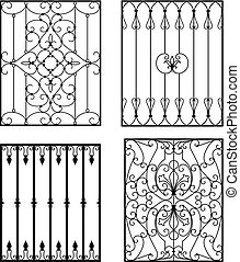 Wrought iron modules, usable as window grilles, fences,...