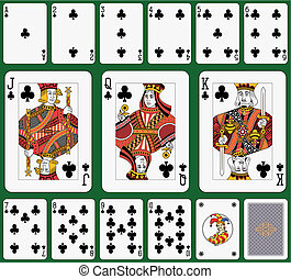 Club suit Jack, Queen and King double sized Green background...