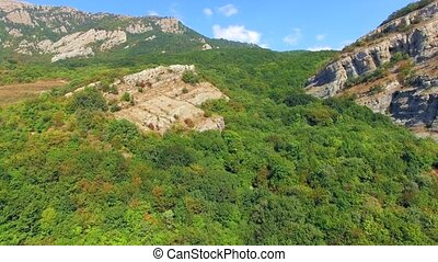 AERIAL VIEW. Mountain Demerji Ridge Overgrown With Beech...