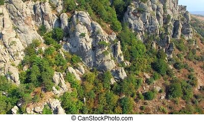 AERIAL VIEW. Rocky Formations On Slope Of Mountain Demerji