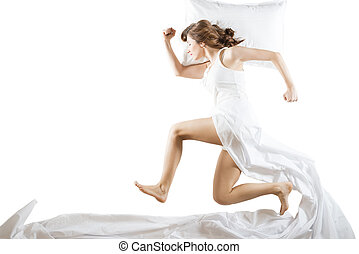 Expressive woman in action - Running sleeper dressed in...