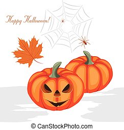 Halloween pumpkins and spiders. Greeting postcard.