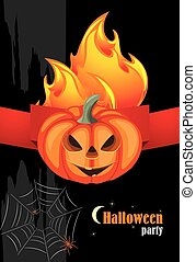 Halloween hot party. Banner for holiday design.