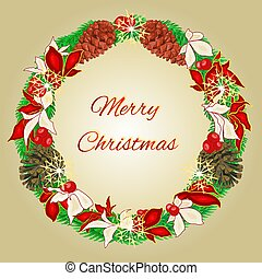 Merry Christmas wreath with pine cones vectoreps - Merry...