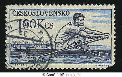 postmark - CZECHOSLOVAKIA - CIRCA 1956: Sports competitions...