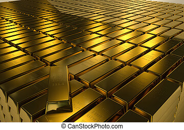 Clip Art of Gold bullion bars close-up in a white. 3d illustration ...