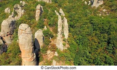 AERIAL VIEW. Boulders In Famous Valley Of Ghosts At Mountain...