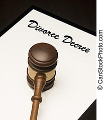 Divorce Decree - Legal gavel on a legal document