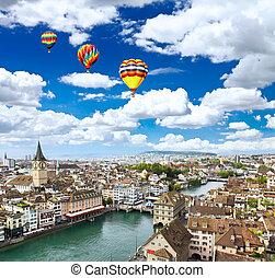 The aerial view of Zurich cityscape, Switzerland