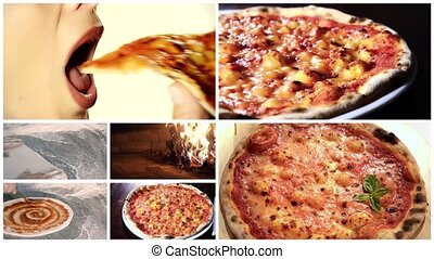 delicious pizza montage - italian pizza, composition...