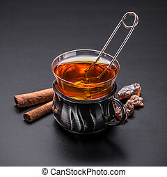 Glass cup tea with tea ball infuser