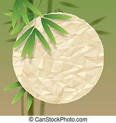 Bamboo background - Green background with a crumpled paper...