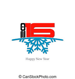 Happy new year 2016 illustration with white background