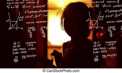 Student teenager girl studying in phone mathematical problem...