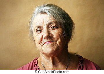 Granny face on a brown background