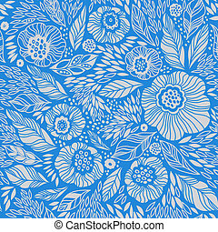 Vintage seamless pattern - Pale blue decorative floral...