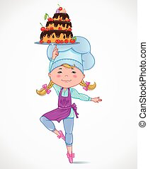 Baby cook with cake