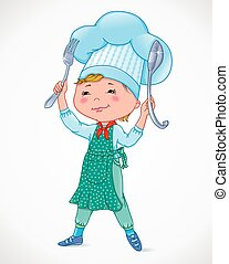 Baby cook with fork and spoon.