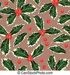 Seamless holly leaves - Holly leaves and berries seamless...