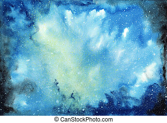 Cosmic watercolor background - Abstract space watercolor...