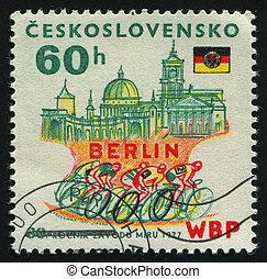 postmark - CZECHOSLOVAKIA - CIRCA 1977: Berlin, DDR flag,...
