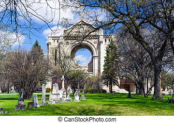 tombstones and StBoniface cathedral - tombstones in front of...