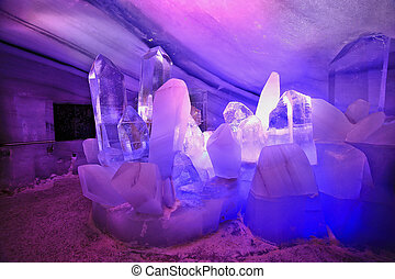 Cross inside the Natural Ice Palace (Ice Cave) at the top of...