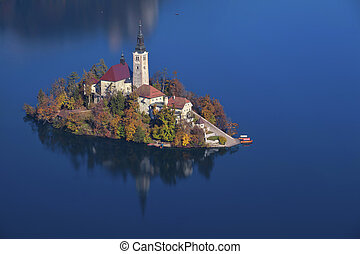 Autumn Lake Bled - Lake Bled with St Marys Church of the...