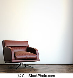 Red arm chair in bright interior. 3d rendering