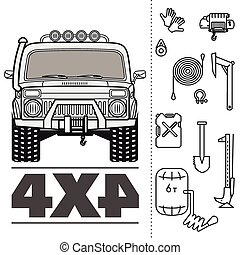 Car off road 4x4 truck icon set - car off road