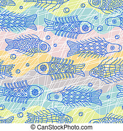 Fish seamless pattern - Decorative seamless background...