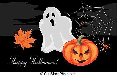 Halloween greeting postcard - Halloween pumpkin, ghost and...