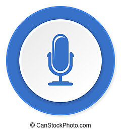 microphone blue circle 3d modern design flat icon on white...