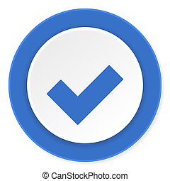 accept blue circle 3d modern design flat icon on white background