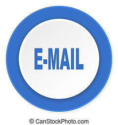 email blue circle 3d modern design flat icon on white background