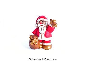 babbo natale che suona la campana con sacco dei doni