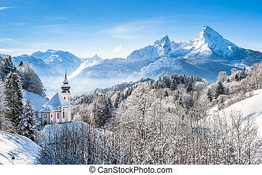Winter landscape in the Bavarian Alps with church, Bavaria, Germany