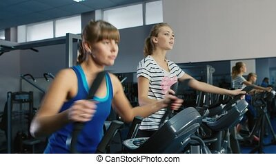 Two attractive women are trained in the gym on the elliptical trainer