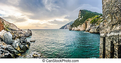 Dramatic seascape from church of St Peter, Porto Venere,...