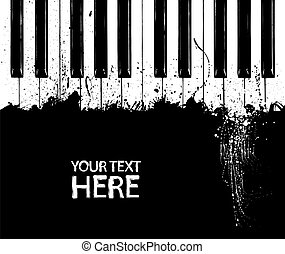 Dirty piano keys - Grunge black and white piano keys with...