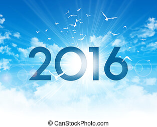 2016 new day greeting card - New Year 2016 type high in blue...