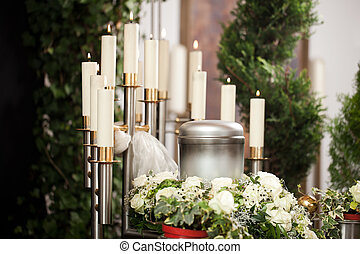 Grief - urn Funeral and cemetery - Religion, death and dolor...